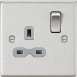ML Accessories-CS7BCG 13A 1G DP Switched Socket with Grey Insert - Square Edge Brushed Chrome