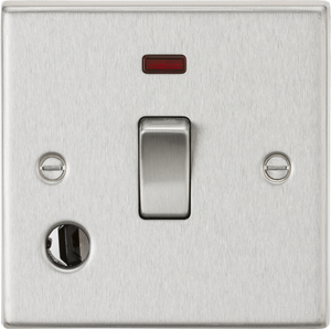 ML Accessories-CS834FBC 20A 1G DP Switch with Neon & Flex Outlet - Square Edge Brushed Chrome