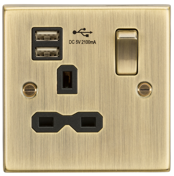 ML Accessories-CS91AB 13A 1G Switched Socket Dual USB Charger Slots with Black Insert - Square Edge Antique Brass