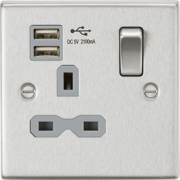 ML Accessories-CS91BCG 13A 1G Switched Socket Dual USB Charger (2.1A) with Grey Insert - Square Edge Brushed Chrome