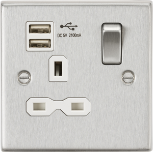 ML Accessories-CS91BCW 13A 1G Switched Socket Dual USB Charger (2.1A) with White Insert - Square Edge Brushed Chrome