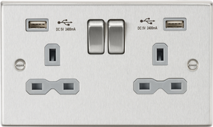 ML Accessories-CS9224BCG 13A 2G Switched Socket Dual USB Charger (2.4A) with Grey Insert - Square Edge Brushed Chrome