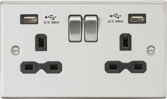 ML Accessories-CS9224BC 13A 2G Switched Socket Dual USB Charger (2.4A) with Black Insert - Square Edge Brushed Chrome