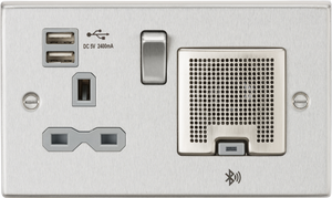 ML Accessories-CS9905BCG 13A Socket, USB chargers (2.4A), & Bluetooth Speaker - Square Edge Brushed Chrome with grey insert