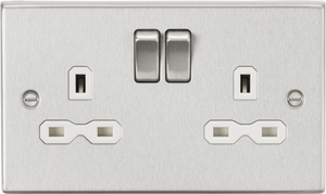 ML Accessories-CS9BCW 13A 2G DP Switched Socket with White Insert - Square Edge Brushed Chrome