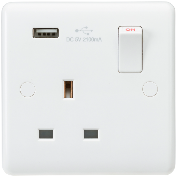ML Accessories-CU9903 Curved Edge 13A 1G Switched Socket with USB Charger (5V DC 2.1A)