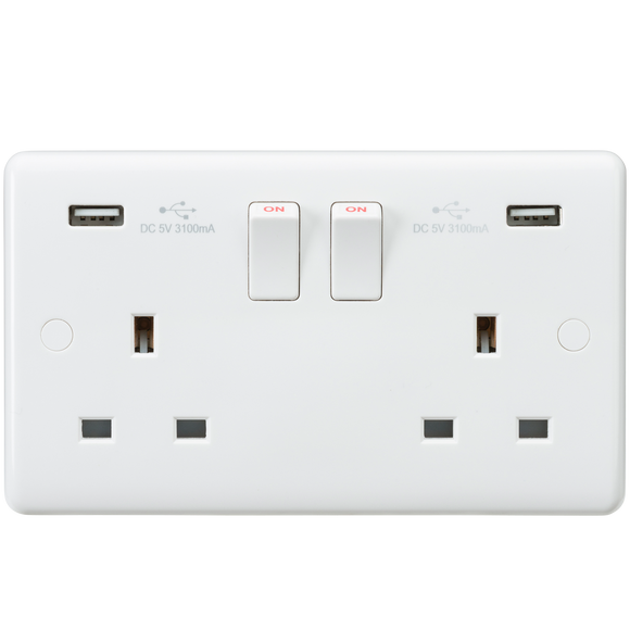 ML Accessories-CU9904 Curved Edge 13A 2G Switched Socket with Dual USB Charger (5V DC 3.1A shared)