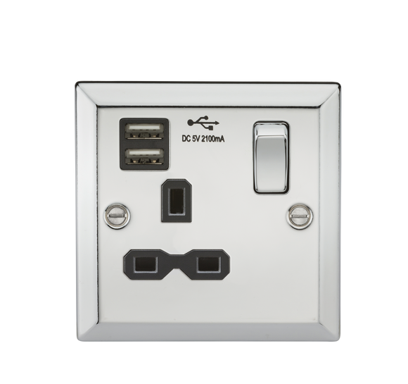 ML Accessories-CV91PC 13A 1G Switched Socket Dual USB Charger Slots with Black Insert - Bevelled Edge Polished Chrome