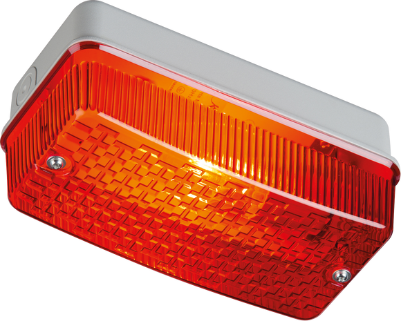 ML Accessories-E27PR 230V IP65 100W max E27 Bulkhead with Red Prismatic  Diffuser and Aluminium Base