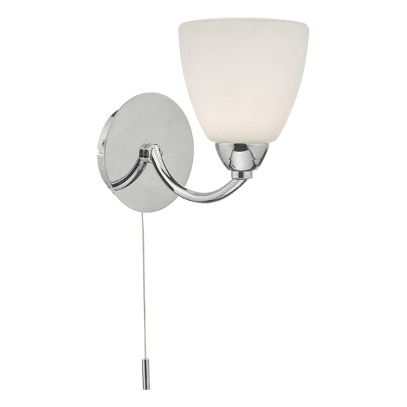Edanna Wall Light Polished Chrome & Opal Glass IP44