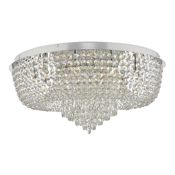 Eitan 12 Light Beaded Flush Clear and Polished Chrome