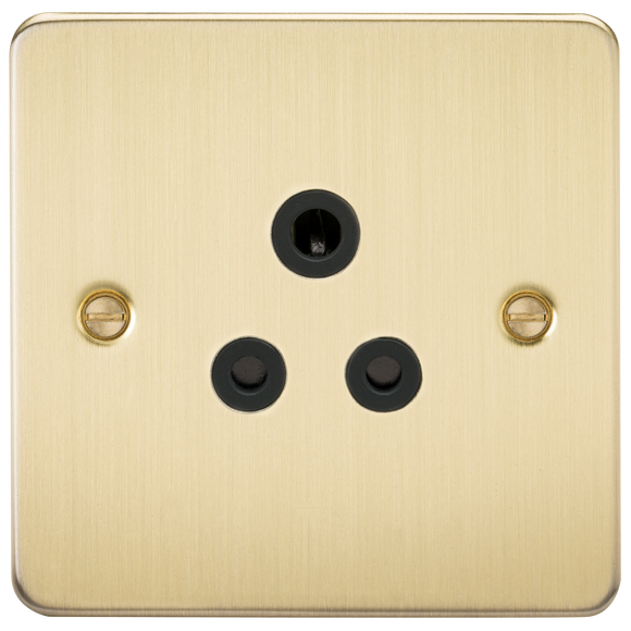 ML Accessories-FP5ABB Flat Plate 5A unswitched socket - brushed brass with black insert