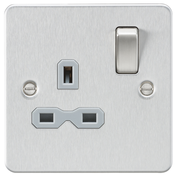 ML Accessories-FPR7000BCG Flat plate 13A 1G DP switched socket - brushed chrome with grey insert