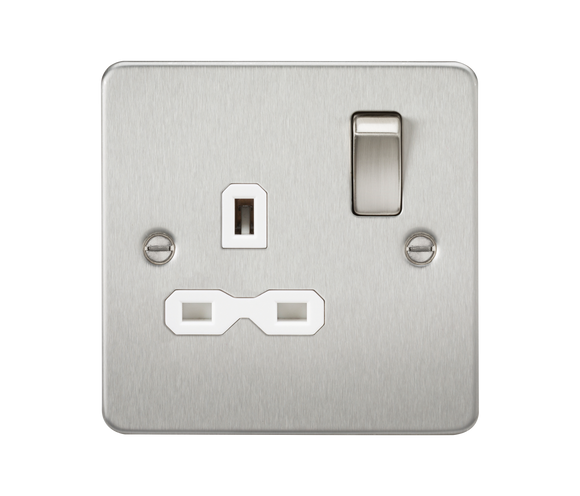 ML Accessories-FPR7000BCW Flat plate 13A 1G DP switched socket - brushed chrome with white insert