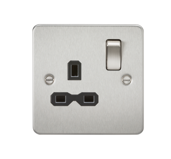 ML Accessories-FPR7000BC Flat plate 13A 1G DP switched socket - brushed chrome with black insert
