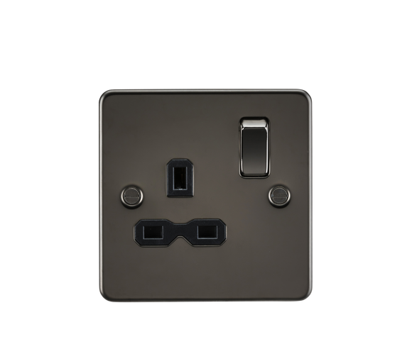 ML Accessories-FPR7000GM Flat plate 13A 1G DP switched socket - gunmetal with black insert