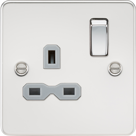 ML Accessories-FPR7000PCG Flat plate 13A 1G DP switched socket - polished chrome with grey insert