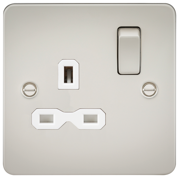ML Accessories-FPR7000PLW Flat plate 13A 1G DP switched socket - pearl with white insert
