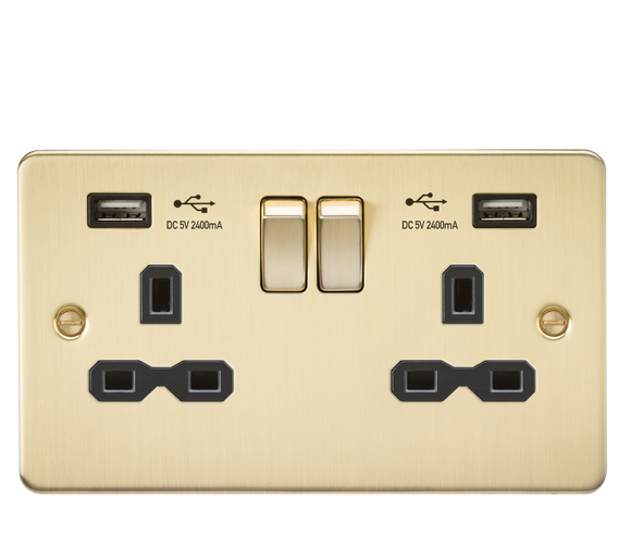 ML Accessories-FPR9224BB Flat plate 13A 2G switched socket with dual USB charger (2.4A) - brushed brass with black insert