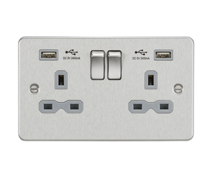 ML Accessories-FPR9224BCG Flat plate 13A 2G switched socket with dual USB charger (2.4A) - brushed chrome with grey insert