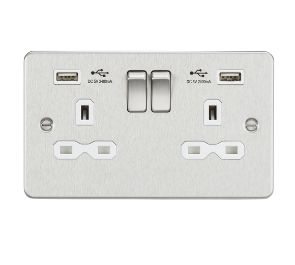 ML Accessories-FPR9224BCW Flat plate 13A 2G switched socket with dual USB charger (2.4A) - brushed chrome with white insert