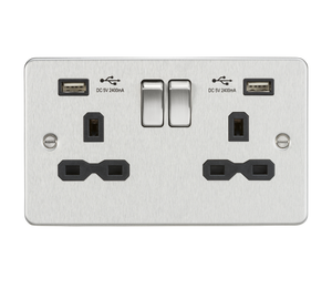 ML Accessories-FPR9224BC Flat plate 13A 2G switched socket with dual USB charger (2.4A) - brushed chrome with black insert