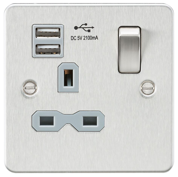 ML Accessories-FPR9901BCG Flat plate 13A 1G switched socket with dual USB charger (2.1A) - brushed chrome with grey insert