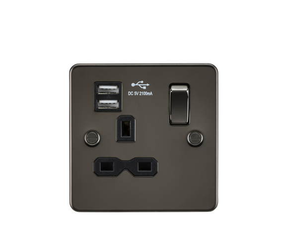 ML Accessories-FPR9901GM Flat plate 13A 1G switched socket with dual USB charger (2.1A) - gunmetal with black insert