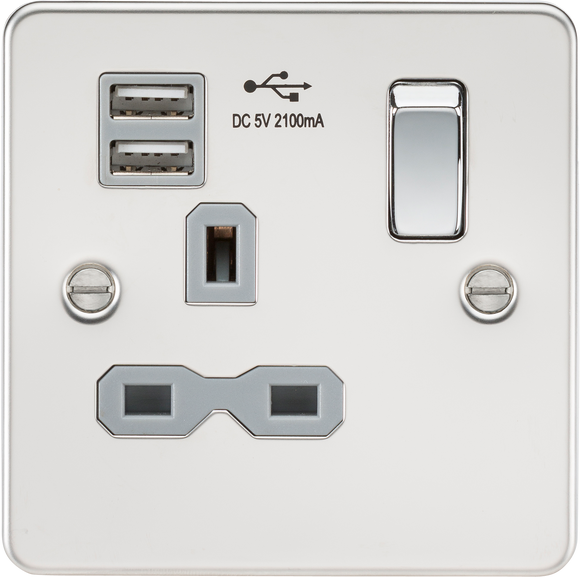 ML Accessories-FPR9901PCG Flat plate 13A 1G switched socket with dual USB charger (2.1A) - polished chrome with grey insert