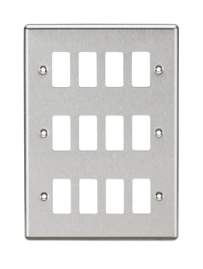 ML Accessories-GDCL12BC 12G Grid Faceplate - Rounded Edge Brushed Chrome