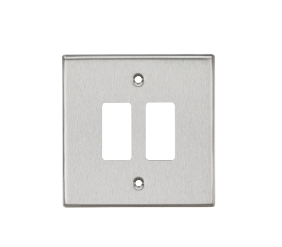 ML Accessories-GDCS2BC 2G Grid Faceplate - Square Edge Brushed Chrome