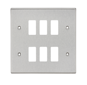 ML Accessories-GDCS6BC 6G Grid Faceplate - Square Edge Brushed Chrome