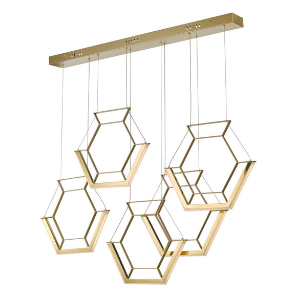Hexagon 5lt Pendant Gold LED