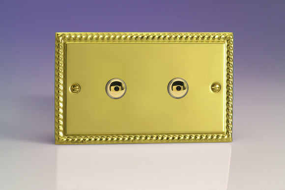 Varilight IGI602M Classic Georgian Brass 2-Gang 1-Way Remote Control/Touch Master Dimmer 2 x 60-600W (Twin Plate)