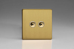 Varilight IJDBI102S Screwless Brushed Brass 2-Gang 1-Way Remote/Touch Control Master LED Dimmer 2 x 0-100W (1-10 LEDs)