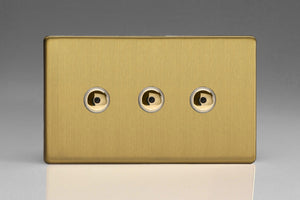 Varilight IJDBI103S Screwless Brushed Brass 3-Gang 1-Way Remote/Touch Control Master LED Dimmer 3 x 0-100W (1-10 LEDs) (Twin Plate)