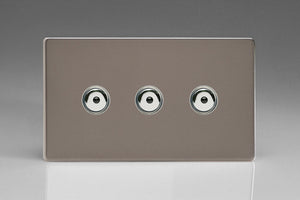 Varilight IJDRI103S Screwless Pewter 3-Gang 1-Way Remote/Touch Control Master LED Dimmer 3 x 0-100W (1-10 LEDs) (Twin Plate)