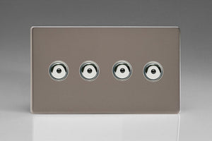 Varilight IJDRI104S Screwless Pewter 4-Gang 1-Way Remote/Touch Control Master LED Dimmer 4 x 0-100W (1-10 LEDs) (Twin Plate)