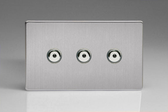 Varilight IJDSI103S Screwless Brushed Steel 3-Gang 1-Way Remote/Touch Control Master LED Dimmer 3 x 0-100W (1-10 LEDs) (Twin Plate)