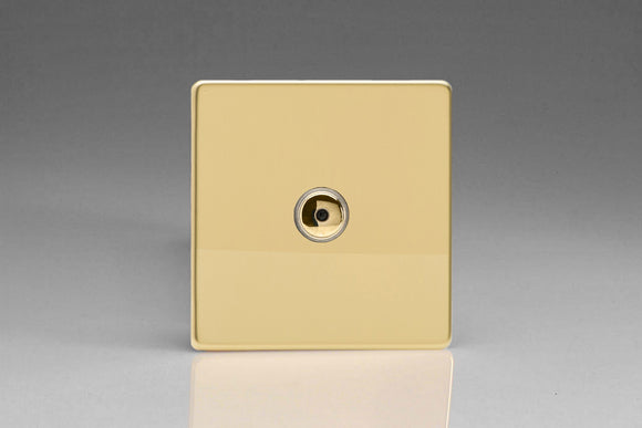 Varilight IJDVI101S Screwless Polished Brass 1-Gang 1-Way Remote/Touch Control Master LED Dimmer 1 x 0-100W (1-10 LEDs)