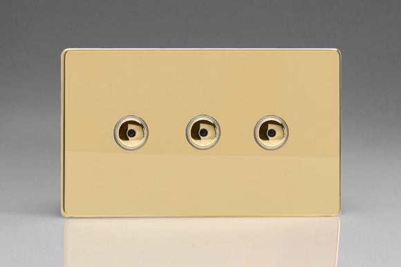 Varilight IJDVI103S Screwless Polished Brass 3-Gang 1-Way Remote/Touch Control Master LED Dimmer 3 x 0-100W (1-10 LEDs) (Twin Plate)