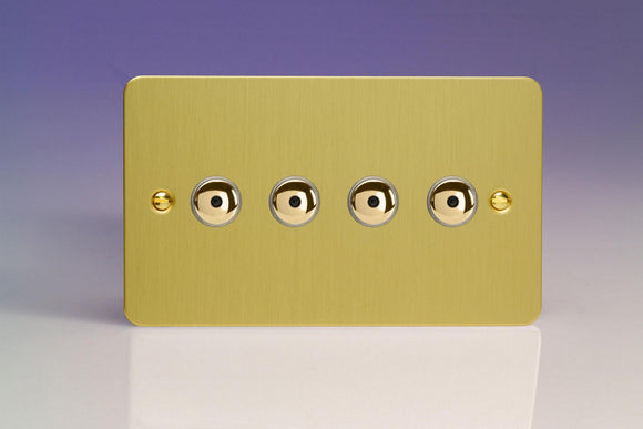 Varilight IJFBI104 Ultraflat Brushed Brass 4-Gang 1-Way Remote/Touch Control Master LED Dimmer 4 x 0-100W (1-10 LEDs) (Twin Plate)