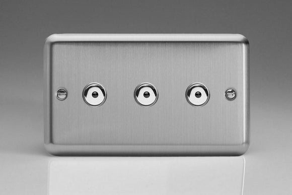 Varilight IJSI103 Value Matt Chrome 3-Gang 1-Way Remote/Touch Control Master LED Dimmer 3 x 0-100W (1-10 LEDs) (Twin Plate)