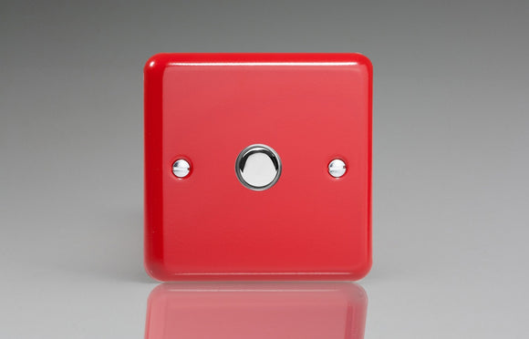 Varilight IJYS001.PR Lily Pillar Box Red 1-Gang Tactile Touch Control Dimming Slave for use with Master on 2-Way Circuits