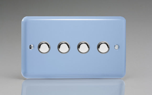 Varilight IJYS004.DB Lily Duck Egg Blue 4-Gang Tactile Touch Control Dimming Slave for use with Master on 2-Way Circuits (Twin Plate)