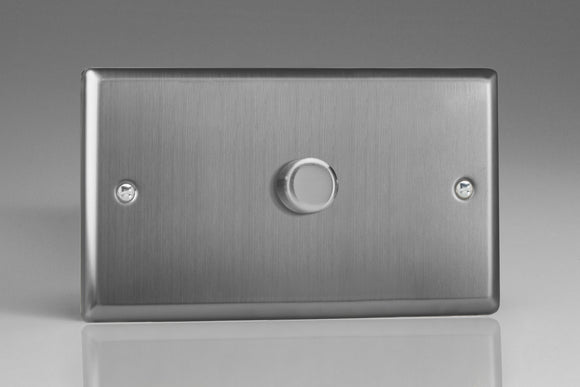 Varilight ITDP1001 Classic Brushed Steel 1-Gang 2-Way Push-On/Off Rotary Dimmer 1 x 100-1000W (Twin Plate)