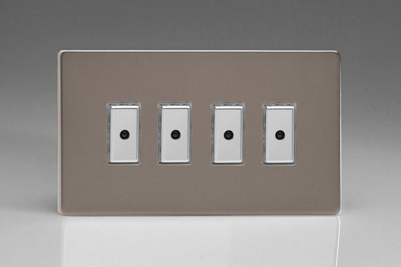 Varilight JDRE104S Screwless Pewter 4-Gang Multi-Way Remote/Tactile Touch Control Master LED Dimmer 4 x 0-100W (1-10 LEDs)
