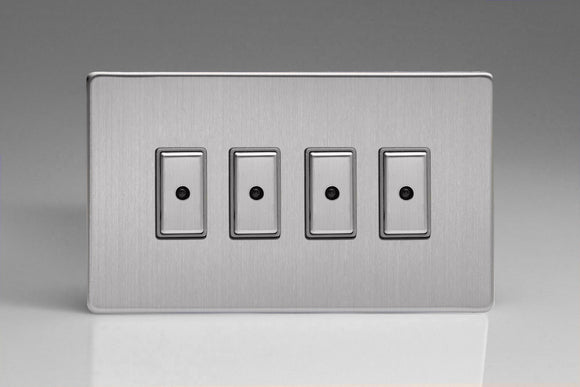Varilight JDSE104S Screwless Brushed Steel 4-Gang Multi-Way Remote/Tactile Touch Control Master LED Dimmer 4 x 0-100W (1-10 LEDs)