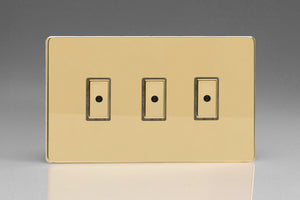 Varilight JDVE103S Screwless Polished Brass 3-Gang Multi-Way Remote/Tactile Touch Control Master LED Dimmer 3 x 0-100W (1-10 LEDs)