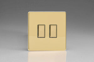 Varilight JDVES002S Screwless Polished Brass 2-Gang Tactile Touch Control Dimming Slave for use with Multi-Point Touch or Remote Master on 2-Way Circuits